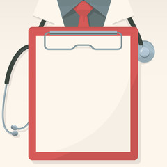 Medical background with record board and stethoscope. Vector.