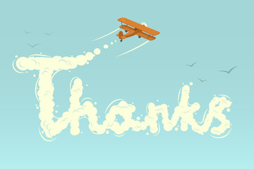Biplane with word Thanks. Vector illustration.