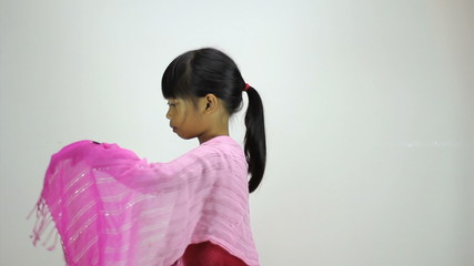 Little Asian Girl Does A Creative Dance-Side View