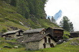 Huts and chalets in the village of Zmutt in the Swiss Alps