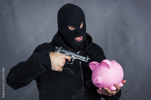 gun on ping piggy bank