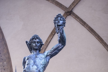Sculpture of Perseus with the head of Medusa.
