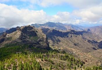 Gran Canaria mountain landscape. View from Roque Nublo peak.