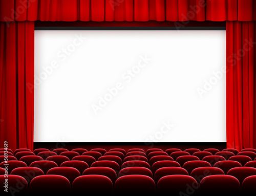Foto op Plexiglas Theater cinema screen with red curtains and seats
