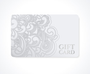 Gift coupon, discount card, Ticket. Silver floral pattern