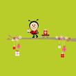 Ladybug Gift Pulling Handcart Tree Green
