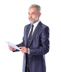 Businessman using a tablet computer -