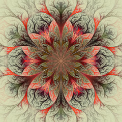 Beautiful fractal flower in red, green and gray. Computer genera