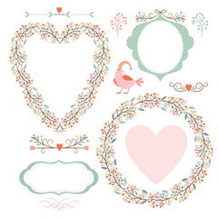 Floral frames and graphic elements