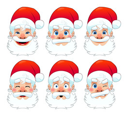 Santa Claus, multiple expressions.