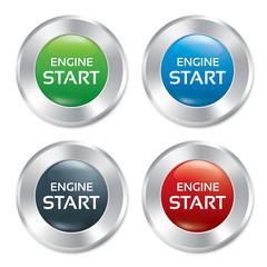 Start Engine buttons set. Vector round stickers.