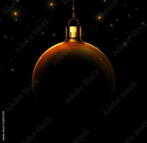 Fototapeta Christmas ball on black background
