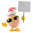 Egg Santa with placard