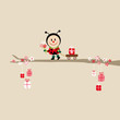 Ladybug Bouquet Pulling Handcart Tree Beige