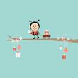 Ladybug Gift Pulling Handcart Tree Retro