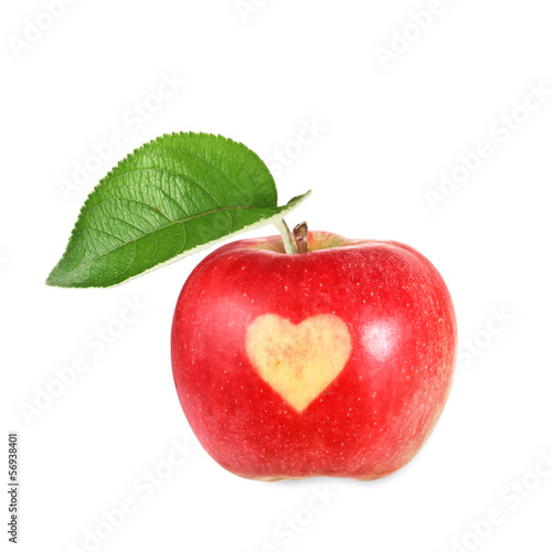 Apple with a heart on it
