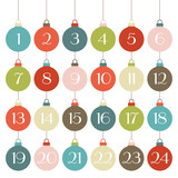 Retro Advent Calendar Christmas Balls Symmetry poster