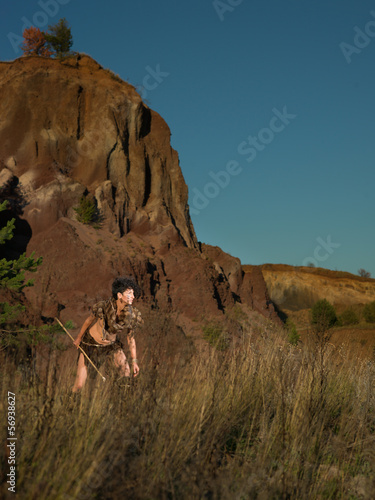wild female warrior with a spear