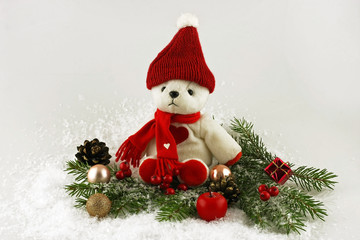 christmas bear and decoration
