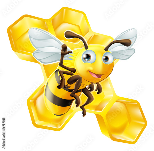 Cute Cartoon Bee and Honeycomb