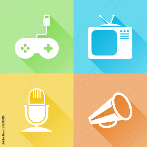 Entertainment colorful flat icons