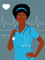 Young African-American nurse or doctor in scrubs