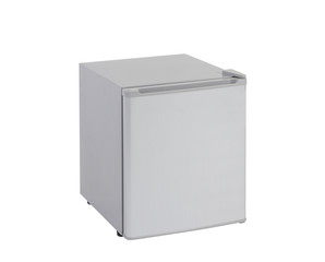 Small gray refrigerator isolated on white background