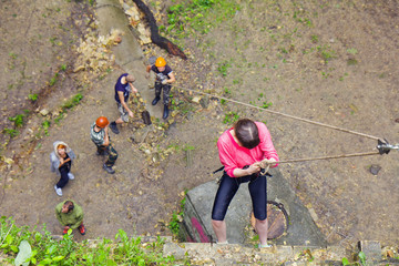 People practice at a climbing training