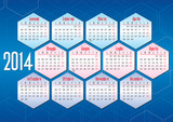italian calendar 2014 with geometric shapes