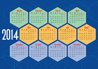 2014 english calendar with hexagons