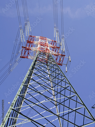 high voltage pylons view from above