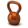 Orange dumbbells. Fitness icon.