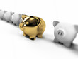 3d rendered illustration of a golden piggy bank