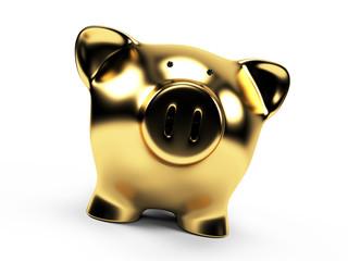 3d rendered illustration of a golden piggy bank