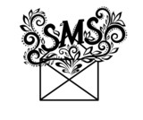 image of black-and-white logo envelope sms in floral style.