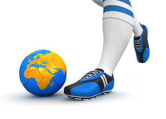 Man and soccer ball  with globe (clipping path included)