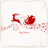Christmas Sleigh & Snowflake Beige Red Scratches