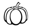 Vector monochrome illustration of pumpkin logo.