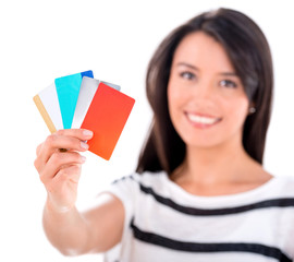 Woman with a handful of cards