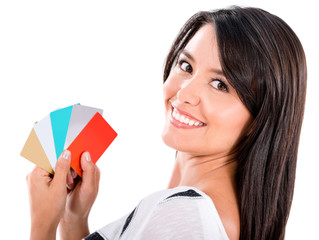 Woman with a handful of credit cards