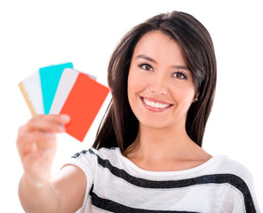 Woman with credit and debit cards