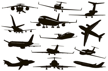 Aircraft vector silhouettes set