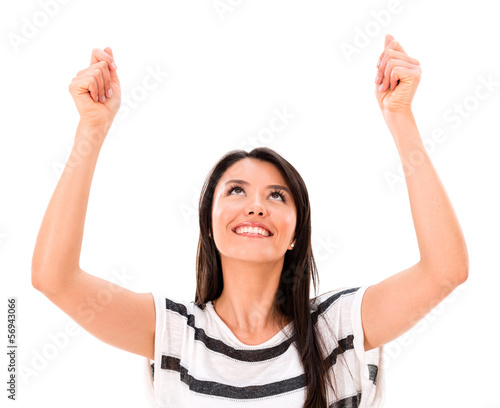 Woman holding up imaginary object
