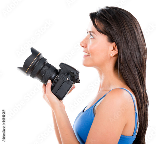 Woman holding a camera