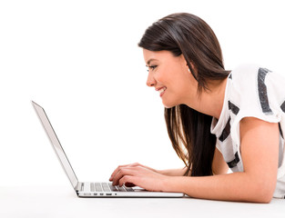 Woman working online