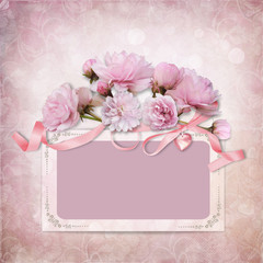 Vintage elegance background with frame and roses