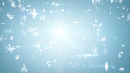 airy snowfall on blue seamless loop