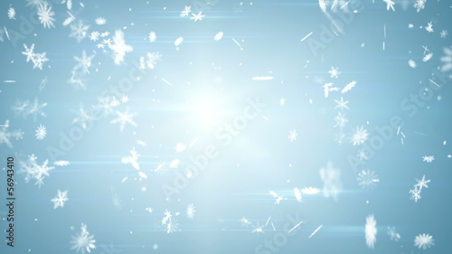 airy snowfall on blue seamless loop