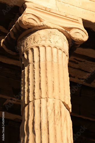 Close up of Ionic column of Erechtheion, Acropolis Hill, Athens