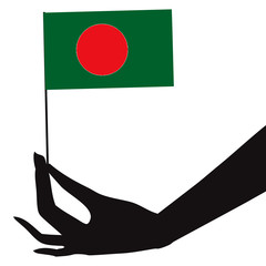 Bangladesh flag in his hand